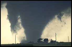 Tornado with multiple vortices